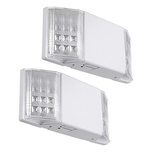 TORCHSTAR LED Emergency Exit Light, Two LED Square Heads Emergency Lighting for Business, Battery Backup, UL-Listed, 120V/277V Input, High Light Blackout Output for Hallways, Stairways, Pack of 2