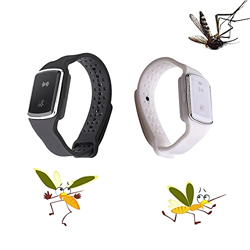 ZMME 2Pcs Ultrasonic Mosquito Repellent Bracelet.Repellent Wristband Ultrasonic, with USB Charging Cable...