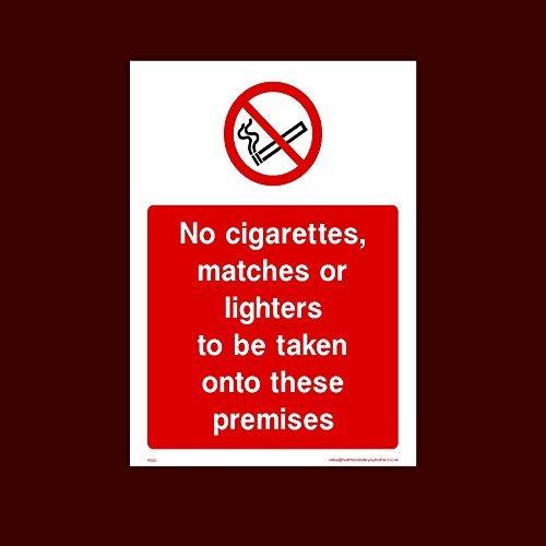 Geen sigaretten, lucifers of aanstekers om mee te nemen op deze voorvallen sticker teken (Ps62) grappige waarschuwing Stickers voor eigenschap, veiligheid teken Sticker Lables, zelfklevende Vinyl Decal
