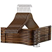 High-Grade Wooden Shirt Hangers with Rubber Grips (10 Pack) Smooth & Durable Wood Hangers with Grips Non Slip - Slim & Sleek Space Saving Hangers with Notches & 360 Hook - Ideal for Camisoles, Rompers