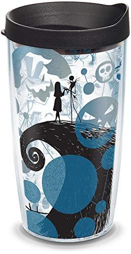 Tervis Disney - Vaso aislado de Pesadilla antes de Navidad 25 aniversario con envoltura y tapa negra, 16 onzas, transparente