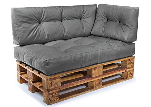 Palettenkissen Set Palettensofa Palettenpolster Palettenauflagen Sofa Kissen Indoor Outdoor Gesteppt für 120 x 80 cm Europaletten ( Set 3: Sitzkissen + Rückenkissen + Seitenkissen - Dunkelgrau )