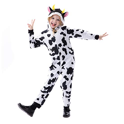 RJ Legend Cow Onesie Pajamas with Cow Ear and Horns for Boys and Girls - Dress Up for Kids, Large