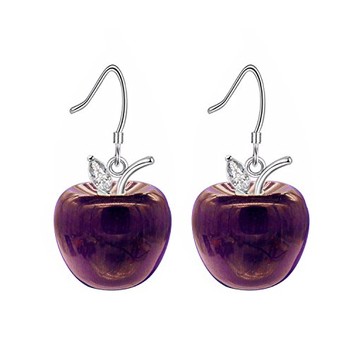 Uloveido Pendientes colgantes colgantes de fruta de manzana chapados en oro blanco para mujeres niñas orejas sensibles con caja de regalo YL007-E