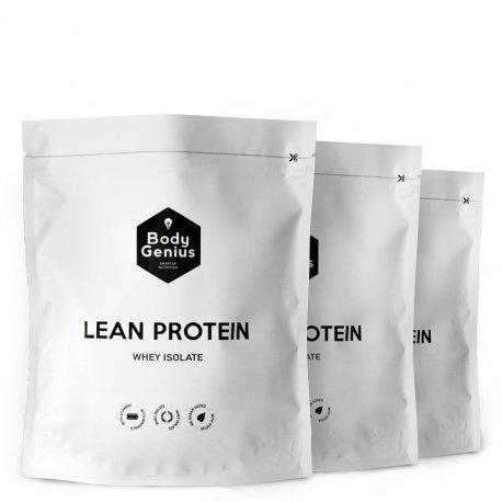BODY GENIUS Trío Lean Protein (Dulce Cacao + Vainilla + Leche Merengada). 3x500g. Whey Isolate. Proteína en Polvo con Stevia. Vitaminas y Minerales. Hecho en España.