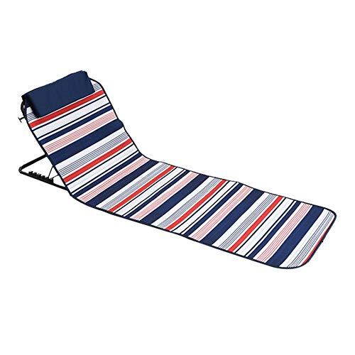 Esterilla de playa portátil plegable con respaldo ajustable y plegable para exteriores, asiento de estadio, ideal para paseos, picnics, camping, senderismo o