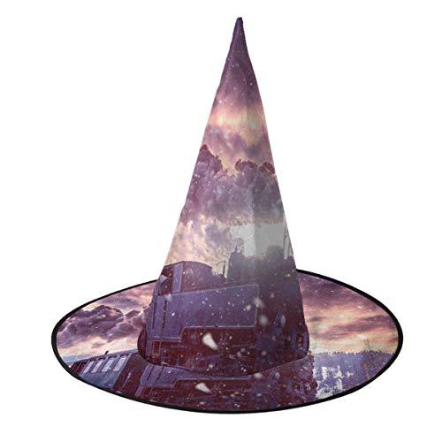 Disfraz de Halloween Sombrero de Bruja Tren de Vapor Viajando en Invierno Mago Gorras con Luces Accesorio de Disfraces para Cosplay Fiesta de Halloween