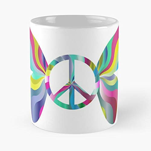 60S Out Colorful Chromatic Sixties 1960S Far Butterfly Abstract Best Mug hält Hand 11oz aus weißer Marmorkeramik
