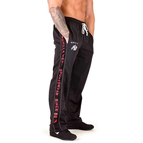 GORILLA WEAR Functional Mesh Pants - schwarz/rot - Bodybuilding und Fitness Hose für Herren, L/XL