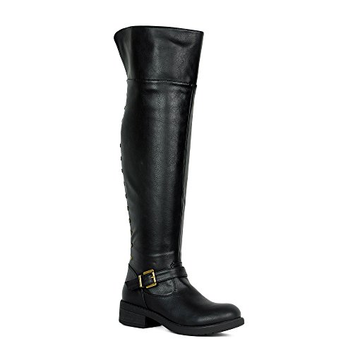 Womens Over The Knee Boots Folding cuff Back Zipper Up Studded Motor Thigh...
