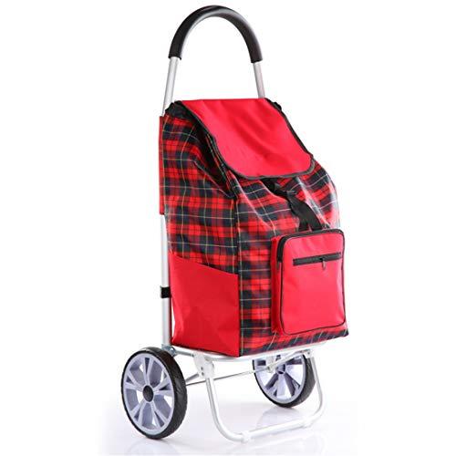 SHINING KIDS Einkaufswagen Tragbarer Trolley Mit Abnehmbarer Tasche Aluminium GepäCkwagen Rot