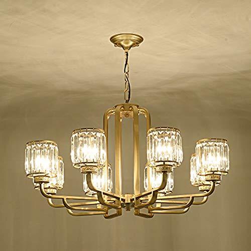 JXILY Lámpara cristalina de Lujo de la Sala de la lámpara Dormitorio de la lámpara Villa Dúplex Edificio Poste de luz Simple Moderna Hogar Comedor Ambiente nórdica,8 Heads