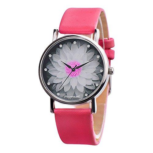 Yivise Mujeres Elegantes Relojes Encantos Redondos Lotus Dia