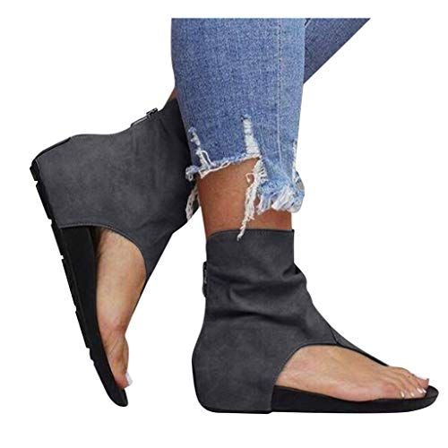 Great Price! kaifongfu Women's T Strap Sandals Flip Flop Casual Hollow Out Flat Wedge Sandals(2-Gray...