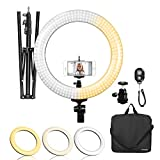 LimoStudio LED Ring Light 18-inch Diameter with Height 71.5' Tripod Stand, Phone Holder, Mount Adapter, Bluetooth Remote Shutter with Strap, AGG1451