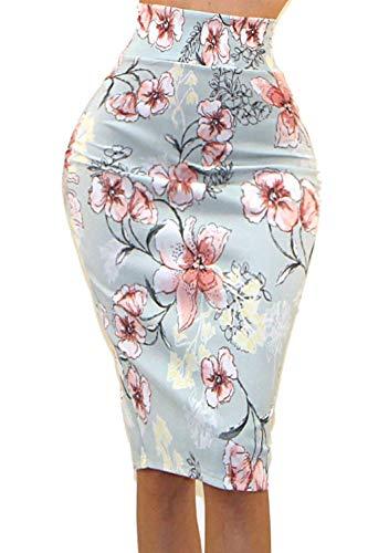 Vivicastle Women's High Waist Band Bodycon Career Office Midi Pencil Skirt (X-Large, D76, Multi)
