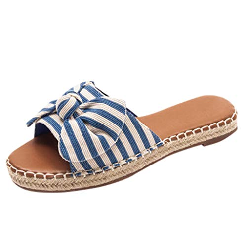 Pantofole Sandali da Donna in Paglia Intrecciata con Fiocco Boemia Ciabatte da Spiaggia Anti-Scivolo per Summer Beach, Sandali Elegant Pantofola Indoor & Outdoor Flip-Flop