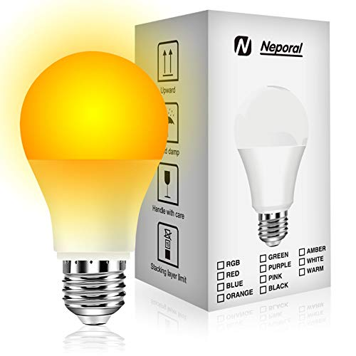 Neporal 9W Night Light Bulbs, Blue Light Blocking Sleep Light Bulbs 1800K, Gentle On Eyes For Sleep and Reading, Soft Warm Light, A19 60W Equivalent, Amber Light Bulbs, 1 Pack