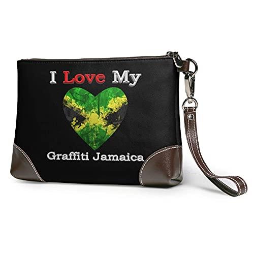 XCNGG I Love My Graffiti Jamaica Heart Flag Hombres 'S y Mujeres' S Embragues de cuero Carteras de piel de vaca real Bolsas de almacenamiento Bolsas para teléfonos inteligentes