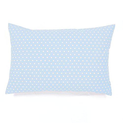 Sugarapple Kinderkissen Bezug 40x60 cm, Deko Kissen Hülle, 100% Baumwolle ÖkoTex Standard mit Reißverschluss, Hellblau Sterne weiß