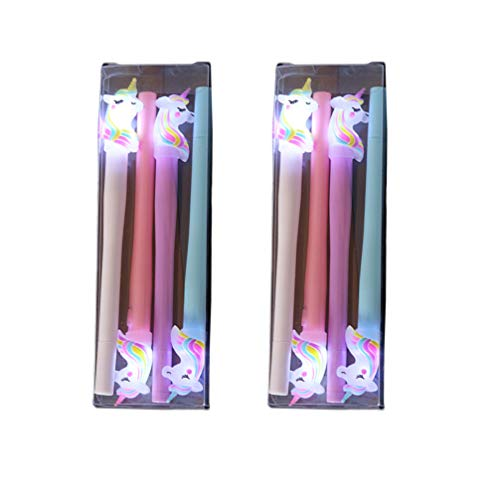 NUOBESTY 2 Juegos de Plumas de Unicornio Flash Bolígrafo Flash Suministros de Fiesta de Unicornio para Niños
