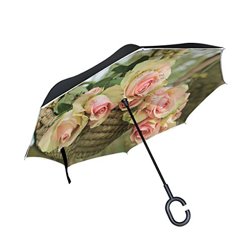 ISAOA un Puede Paraguas Resistente al Viento Doble Capa invertido Plegable Paraguas para Lluvia de Coche, Mango en Forma Paraguas Siete Rosa Rosas en Cesta Paraguas para Las Mujeres