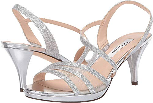 NINA Womens Nazima Open Toe Special Occasion Slingback, Silver Glitter, Size 6.0