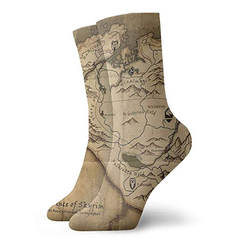 Kay Sam Unisex Cotton Crew Socken Skyrim Map Throw Pillow Personalisierte Socken Sport Athletic Strümpfe Socke Für Männer Frauen
