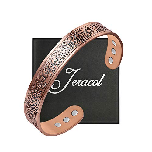 Jeracol Copper Magnetic Bracelets for Arthritis for Women Men Therapy Anxiety Pain Relief with 6 Powerful Magnets Adjustable Cuff Bangle Healthy Healing Gift with Gift Box