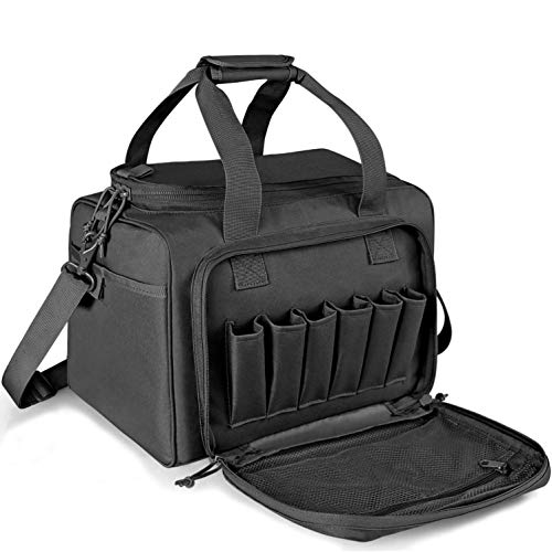 WINCENT Tactical Gun Range Bag for Handguns and Ammo, Shooting Duffle Range Pistol Bag with Magazine Slots Multiple Compartments Black