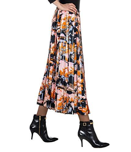 JUCCA rok voor dames, geplisseerd, bloemenpatroon, gemaakt in Italië