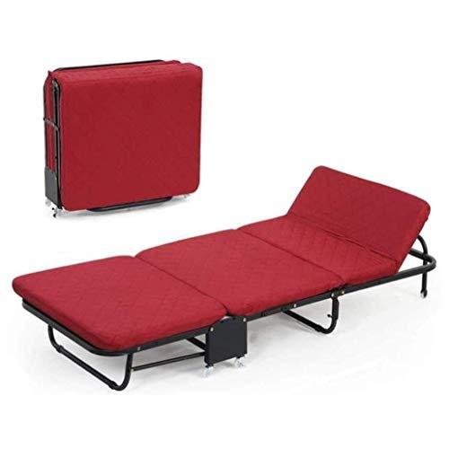 N&O Renovation House Faltbarer Relaxsessel Bequeme Freie Einstellung 5-Höhen-Rolleinzelbett für Erwachsene Gästebetten Aluminiumrahmen mit Memory-Schaum-Matratze Einfache Lagerung (Color : Red Size :