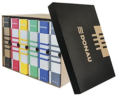 DONAU 7666301FSC 02 - Scatola per archivio con coperchio in cartone ondulato riciclato a tre strati, 5 pezzi, portata fino a 13 kg, certificazione FSC