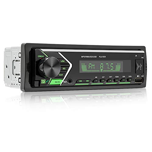 Single Din Car Stereo with Dual Bluetooth, FM Radio Car Audio Receiver Dual USB Port, SD, AUX-in, Built-in Microphone, Hands Free Calling MP3 Player with Wireless Remote Control