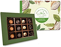 House of Nutrition Premium Assorted Pralines and Truffles Diwali Gift Pack 12 pcs with 2 Diwali Candles