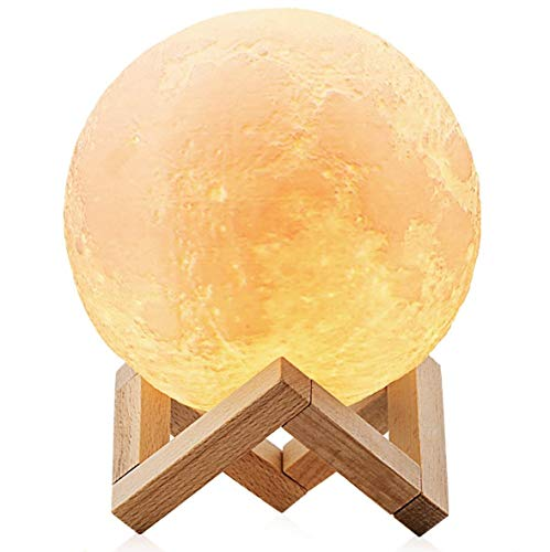 ChillHil Lampara de Luna LED 3D Moon Lamp - Recargable por USB...