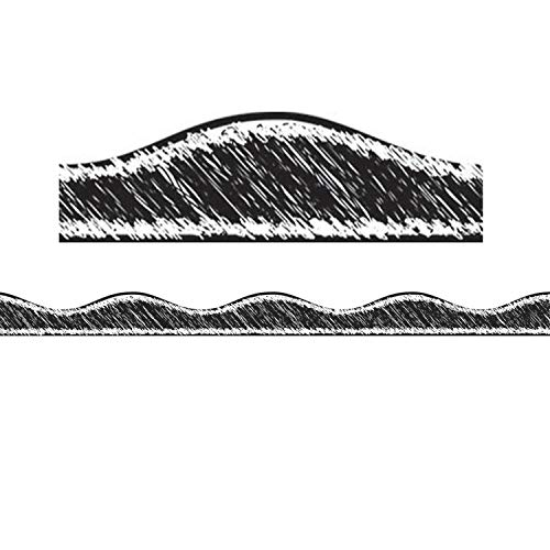 ASHLEY PRODUCTIONS Scribble Chalk Magnetic Border Black Scribble, 1' x 12'