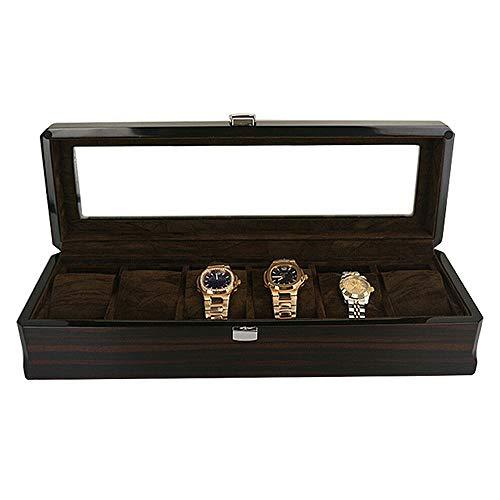 OUKANING Uhrenbox 6 Uhren Holz Mit Oberlicht Uhrenbox Uhrenkasten Herren Damen Uhrenaufbewahrungsbox Uhrenschachtel Uhrenschatulle Uhrenbox Herren Damen Geschenk Watch Box Schwarz