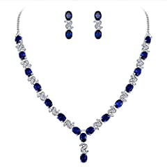 ♥Material: This bridal jewelry sets made of crafted environmental friendly Cubic Zirconia, shines with grace and beauty. And the metal surface is of high polished finish. ♥Size: CZ Color: Sapphire Color; Necklace Length: 16.3in, Pendant Size: 7.3in B...