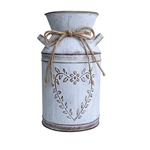 Hopeas Vase à Fleurs Vintage Pots de Fleurs en Métal Déco Pot à Lait de Style Campagnard, Décoration de Table à Seau à Fleurs Rustique
