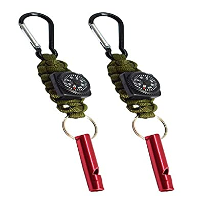 Bytiyar 2 Pcs Tactical Paracord Keychain Carabiner Clips Braided Lanyard Key Rings Holder Chain Survival Kit Tool with Small Compass and Metal Whistle