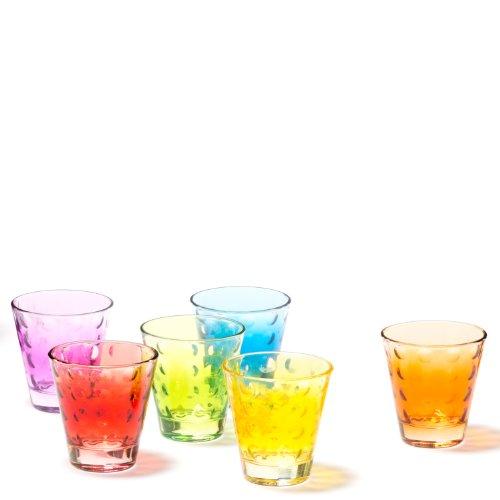 Leonardo Optic Becher klein farbig sortiert, 6-er Set, 215 ml, verschiedenfarbige Gläser mit Colori-Hydroglasur, 035248