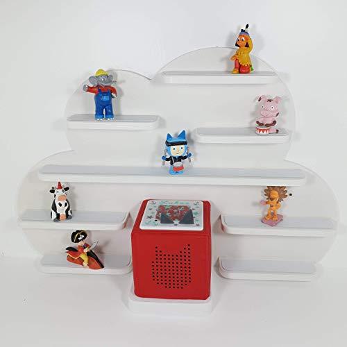 Tonie Board, Wolke in weiß mit weißen Regalen, ideale Aufbewahrung für Tonie Box und Tonie Figuren, Kinderzimmer Regal, Deko Board, Musikboxaufbewahrung, Hängeregal
