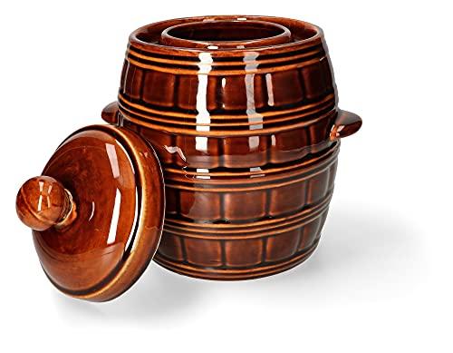 KOTARBAU® Keramik Gärtopf 5L zum Einlegen von Lebensmitteln mit Deckel