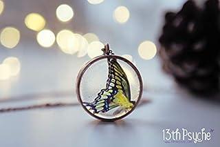 collana a farfalla di coda di rondine, gioielli in resina, ciondolo a farfalla, collana di insetto, gioielli farfalla gial...