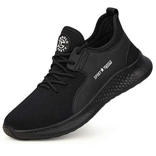 tqgold® S3 Sicherheitsschuhe Herren Damen Arbeitsschuhe Leicht Sportlich Sneaker Turnschuhe Schutzschuhe mit Stahlkappe Schwarz Größe 43