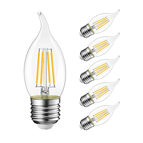 Flame Tip LED Filament Bulb Candelabra E26 Base,LVWIT Dimmable 5.5W (40W Equivalent) B11 Chandelier Candle Light Bulb,2700K Warm White 6-Pack