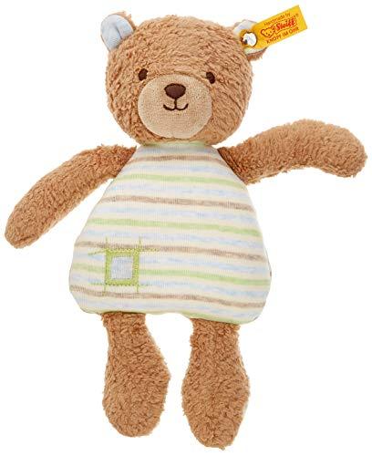 Steiff 242212 Teddybär Rudy, Plüschbär Teddy 24 cm, Spielzeug für Babys, GOTS Plüschtier zum Kuscheln & Spielen, Original Stofftier mit Knopf im Ohr, Schmusetier waschbar, hellbraun/blau, braun