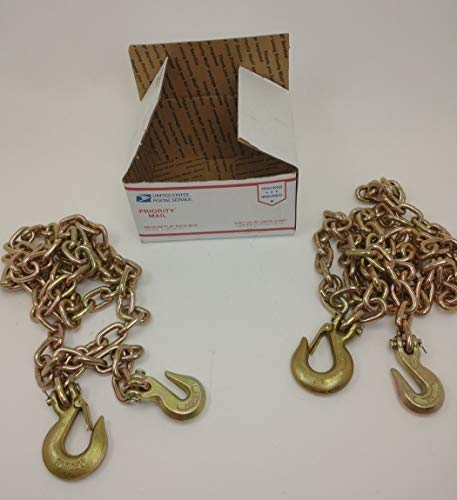 Heavy Equipment Flatbed Binder Chains with Clevis Grab or Slip Hooks (Clevis Slip Hook w/Safety Latch & Grab Hook, 3/8