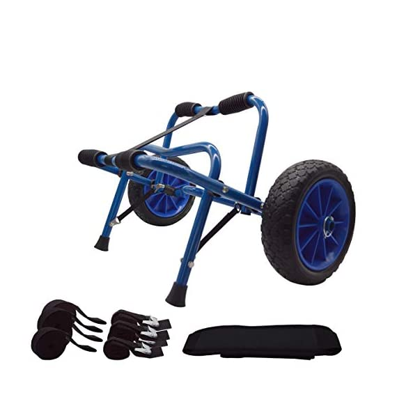 Newcod kayak cart kayak trolley carrier dolly trailer for canoe boat with no-flat airless tires wheels 1 【good quality】22x1. 5mm aluminum tube with rubber pads. 【pu wheel】with two pu solid wheels, don't need to inflate. 【capacity】this kayak cart can be loaded 165lbs.